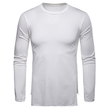 Mens T-shirt Milk Silk Comfortable Solid Color T Shirt Round Neck Long-sleeved Tops Plus Size M-3XL Streewear