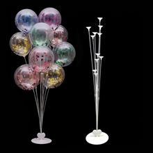 7 Tubes Balloon Stand Holder Column Confetti Balloons Plastic Ballon Stick Baby Shower Kids Birthday Wedding Xmas Decor