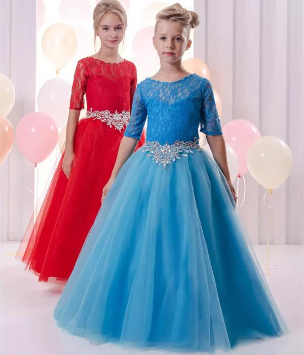 Red Blue Short Sleeves Ball Gown Flower Girl Dresses Lace Beaded Child Pageant Dresses Beautiful First Communion Dress lovely pink ball gown short flower girl dresses 2018 beaded pearls first communion dresses for girls pageant dress
