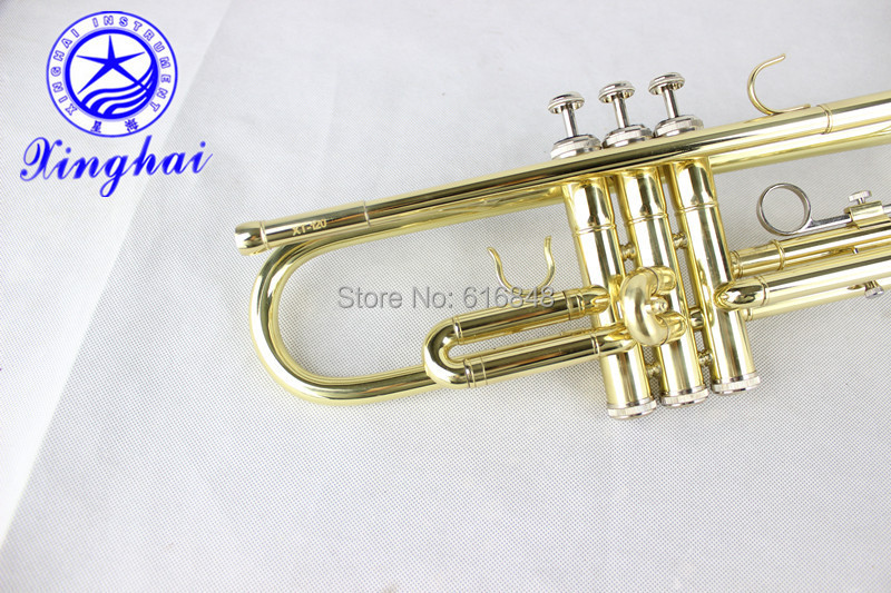 US $188 1 10% OFF|Professional Musical Instrument Xinghai XT 120 Bb Trumpet  Gold Tube Gold Plated High Quality Trompete For Beginners With Case-in