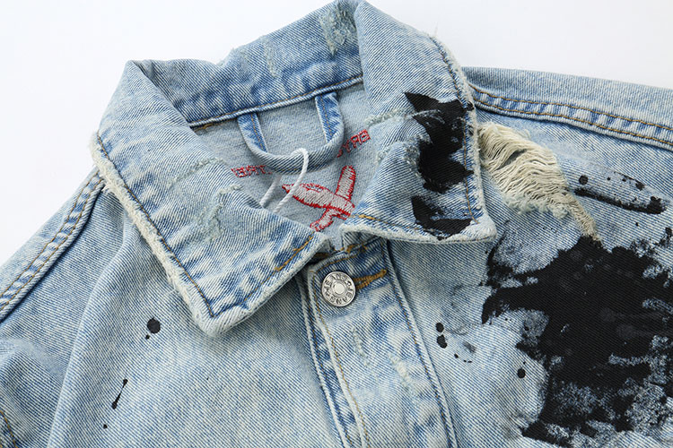 GONTHWID Mens Graffiti Denim Jackets Streetwear 2020 Hip Hop Casual Patchwork Ripped Distressed Punk Rock Jeans Coats Outwear