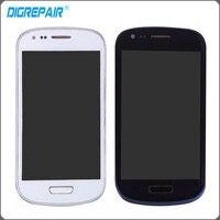 Azul Branco Para Samsung i8190 Galaxy S3 Mini Display LCD Monitor de Tela Sensível Ao Toque com Digitador Assembléia Quadro Moldura Do Painel de Peças