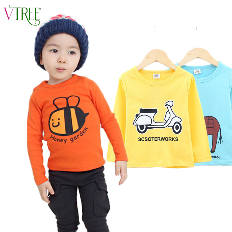 V-TREE 2016 spring t-shirts for girls long sleeve girl shirts cartoon boys t-shirt cotton children t shirts girls tops baby tees