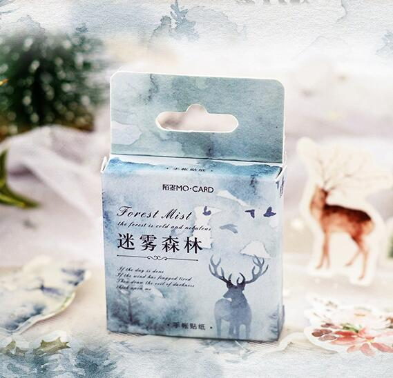 Blue Winter Forest Sealing Sticker Gift Paper Stickers 45pcs