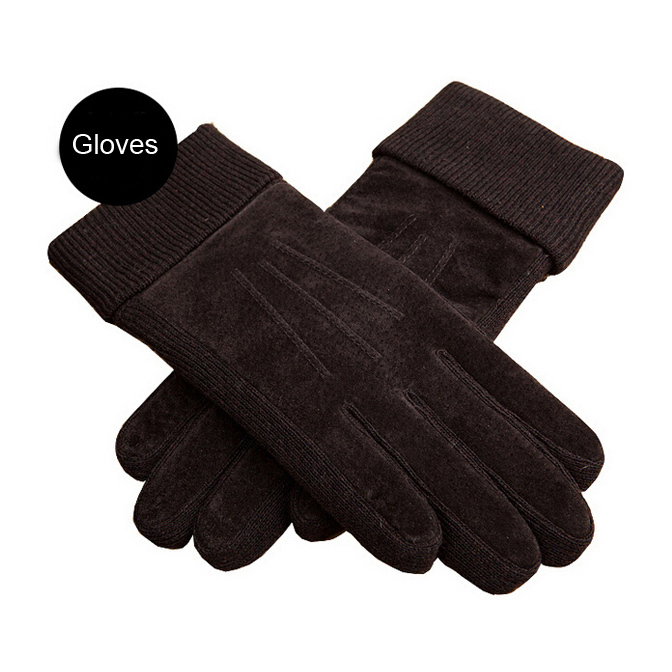 Hot Sale Fashion Guantes Men's Winter Warm Glove Solid Black Rowan Pigskin Leather Middle Soft Tactical Gloves Military Mittens