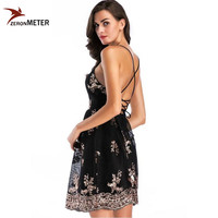 Elegant Embroidery Sparkly Sequin Christmas Party Dress Black Sexy Cross Bandage Backless Spaghetti Strap Party Club