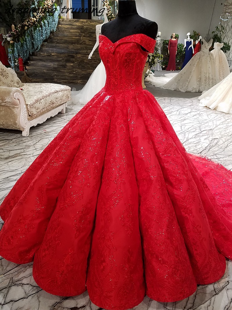Vintage Red Colored Wedding Dress 2019 Ball Gowns Sweetheart