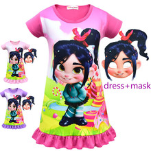 Girls Dress Ralph Breaks the Internet: Wreck-It 2 Vanellope von Schweetz childrens dress purim cosplay girl clothin