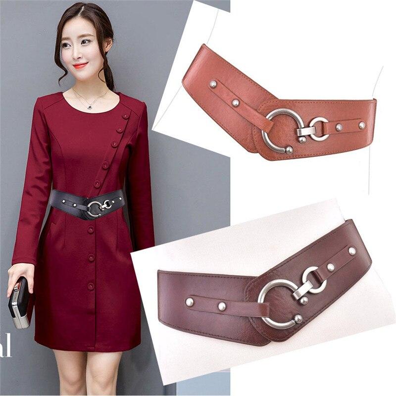 Ceinture élastiquée pour femme décoration coréenne sauvage avec manteau pull ceinture large ceinture en cuir PLD8079