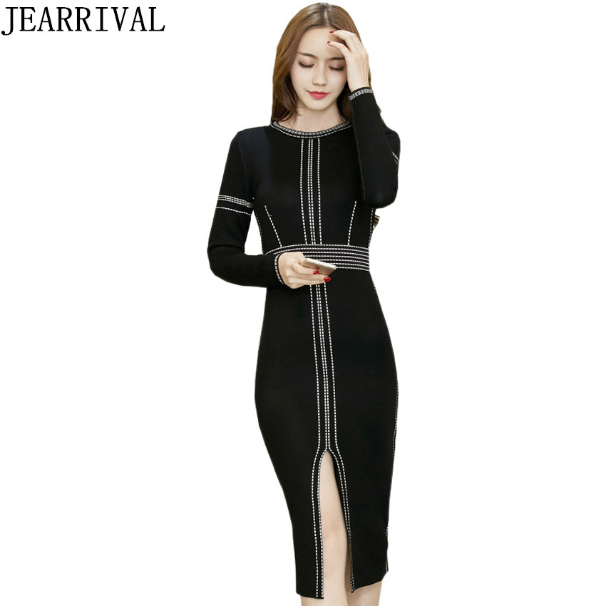 Winter Dress Women 2017 Autum Fashion Elegant Bodycon Knitted Dress Long Sleeve Casual Slim Sweater Dresses