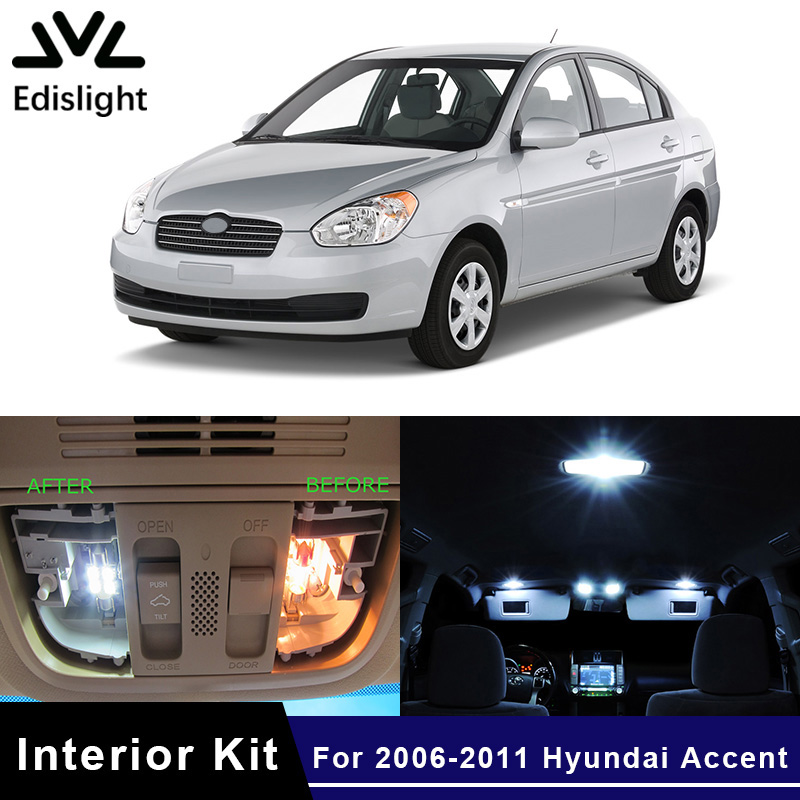 Led White For 2006 Plate Hyundai Car 40Off Us10 Kit Dome edislight Light In Map 10pcs Interior Number Lamp 73 Bulbs Ice Blue Package 2011 Accent Nvwm8n0