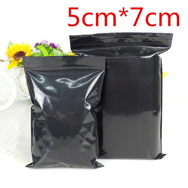5 7cm 1000pcs Lot Black Resealable Plastic Zipper Top Valve Storage Pack Bag Self