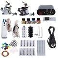 Complete Tattoo Kit 2 Machine Guns Pigment Tips Power Supply Set 20 Needle 4 Needle Sizes With EU US Plug