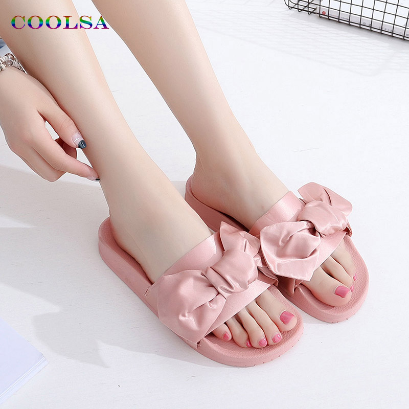 COOLSA Fashion Silk Bow Slides Women Slippers Soft Fabric Cute Butterfly-knot Designer Flat Casual Sandals Ladies Beach shoesCOOLSA Fashion Silk Bow Slides Women Slippers Soft Fabric Cute Butterfly-knot Designer Flat Casual Sandals Ladies Beach shoes