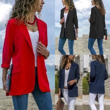 Высокое качество пиджак женский верхняя одежда сплошной цвет с длинными рукавами мода дикий маленьки