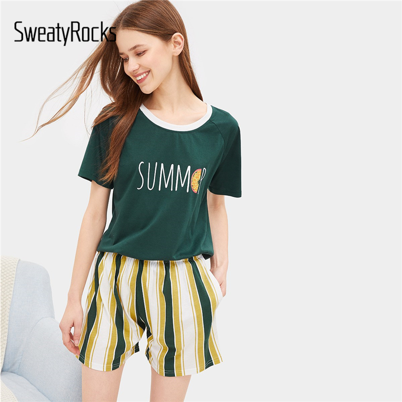 SweatyRocks Letter Print Striped   Pajama     Set   Kawaii Short Sleeve   Pajamas   Green Tops And Shorts   Sets   2019 Women Summer   Pajama     Sets