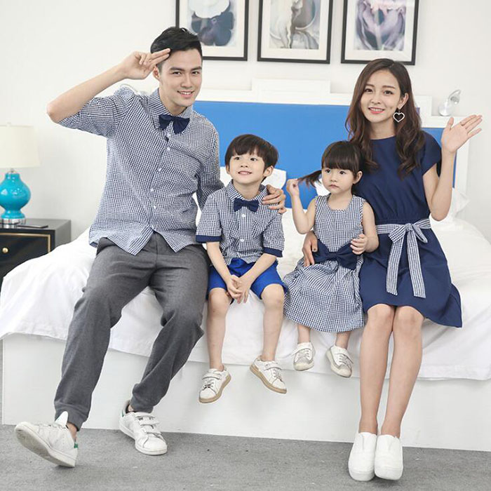 HTB1nzekPVzqK1RjSZFoq6zfcXXaZ - Family Matching Outfits Summer Fashion Plaid Shirt Outfits Mother And Daughter Dresses Father Son Baby Boy Girl Clothes