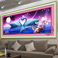 5D DIY Diamond Embroidery Animal Crystal Round Diamond Beautiful Swan Lake Bedroom Decorative Painting Homemade