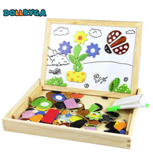 DIY Wooden Magnetic Sticker Blocks Early Childhood Educational Toy Animal Plant Enlightenment For Kid Free Shipping DOLLRYGA