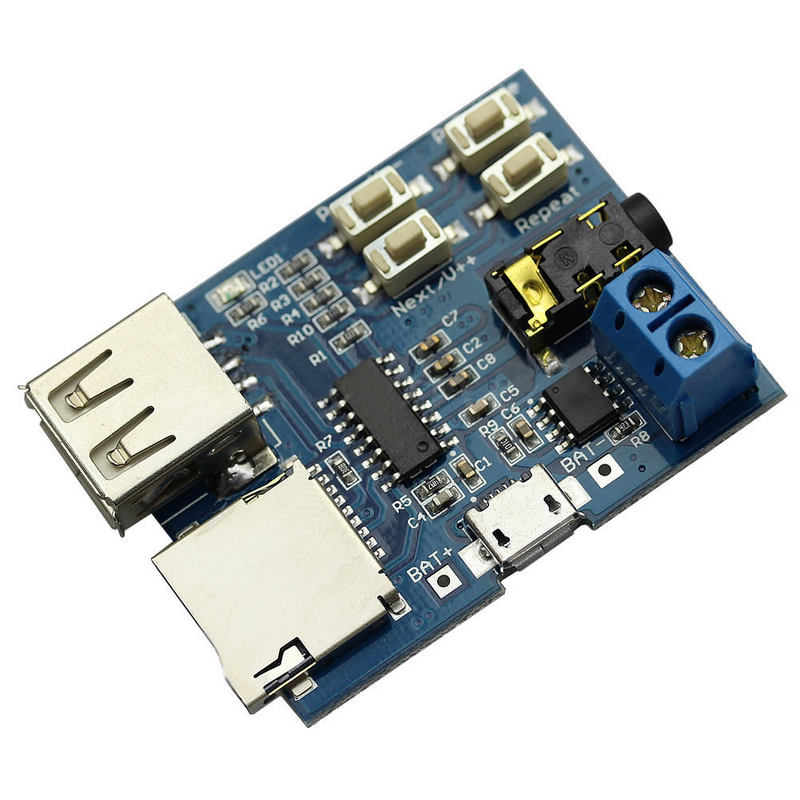 Mayitr 1pc MP3 Decoding Board Audio Player High Quality MP3 Format TF Card U Disk Decoder Built-in Amplifier for DIY Module
