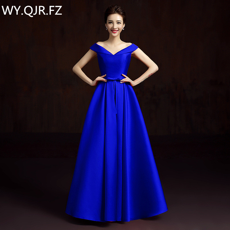 LBHS2145L V neck lace up plus size new blue Champagne bridesmaid font b dresses b font