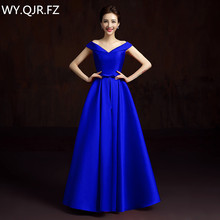 LBHS2145L#V-neck lace up plus size new blue Champagne bridesmaid dresses autumn winter bride wedding party prom dress 2018