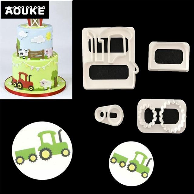 Us 1 1 26 Off 4 Teile Satz Traktor Form Kunststoff Cutter Kekse Cookies Form Fondantkuchen Form Gepragte Formen Kuchen Dekorieren Diy Backen Candy