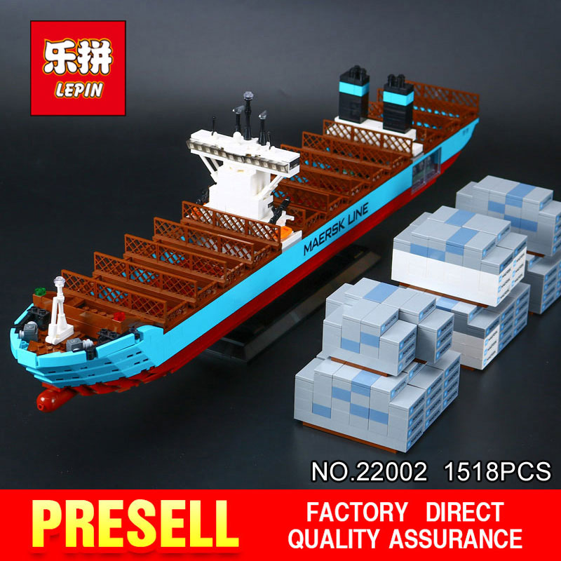 Lepin 22002 1518Pcs Genuine Technic Series Maersk Line Triple-E Toys Building Blocks Bricks DIY Educational Model 10241 lepin 22002 1518pcs the maersk cargo container ship set educational building blocks bricks model toys compatible legoed 10241