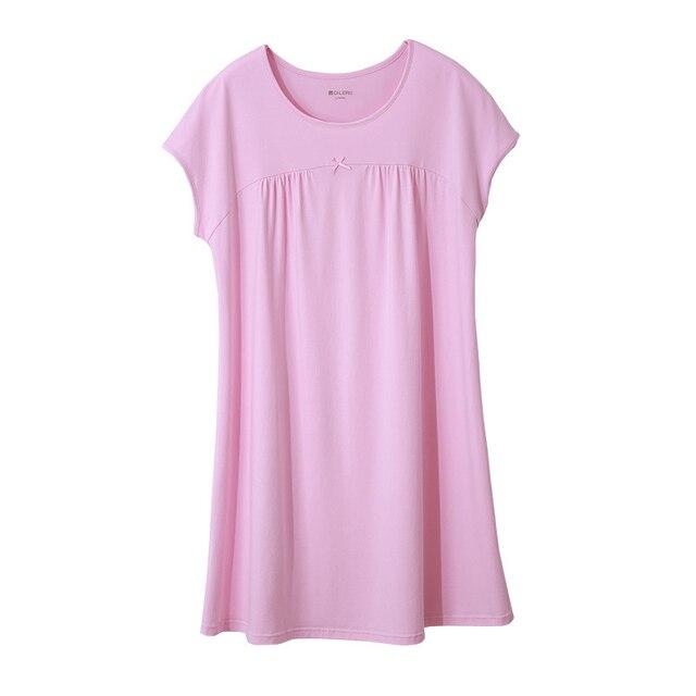 CILER Women  Sexy Lingerie Nightgown Pure Cotton Short-sleeve Thin Sleepwear Sleepshirts M-2XL Sleep Dress