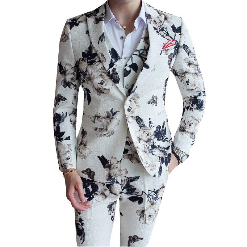 Floral Print Suits Men Tuxedo 2019 Slim Fit Mens Blazers Pants Vest 3 Pcs Party Wedding Dress Suits Casual Formal Costume Homme