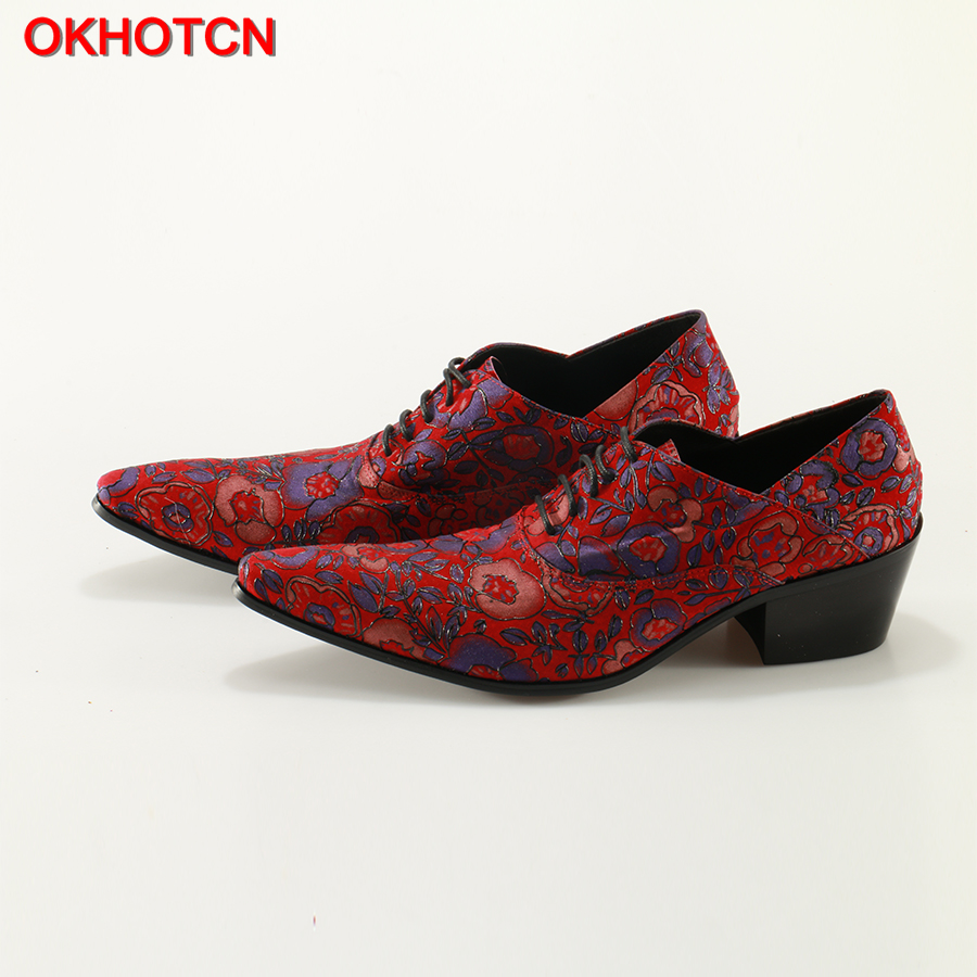 OKHOTCN Red Blue Floral Shoes Men Leather Pointed Toe Lace Up Wedding Dress Shoes For Men Evening Party Sapato Social Shoe okhotcn male pointed toe cow leather shoes daily plaid men casual business dress shoes oxfords men flat lace up sapato masculino