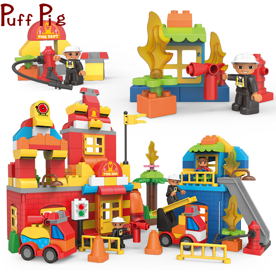 City Fire Department Firefighter Figures Cars Big Building Blocks Comaptible Legoed Duploe Train Creative DIY Kids Toys Bricks gorock 109pcs big blocks city fire department firemen building blocks set kids diy bricks creative toys compatible with duploe