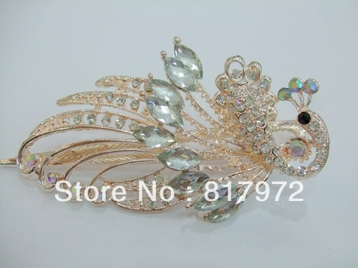 Glamour Shining green crystal carved hollow peacock pin stick barrette hair slide clip woman fashion party gift