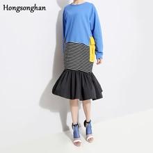 Hongsonghan Spring dress women 2019 Korean version of Long sleeve ruffles spliced new patchwork dress flounce mermaid dresses цена в Москве и Питере