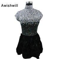 New High Neck Sleeveless Handmade Sparkly Beadings Rhinestones Feather Party Homecoming Dress 2017 Short Mini Cocktail