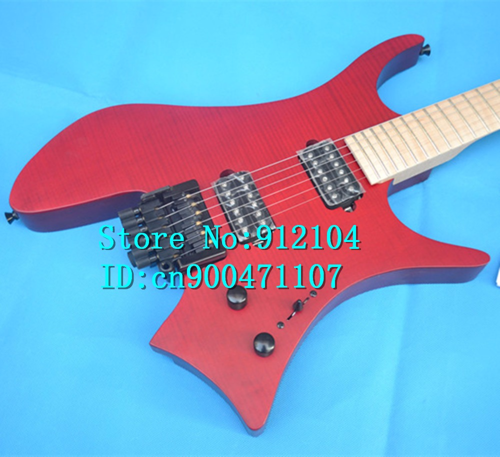 new headless electric guitar  in red with elm body+EMS free shipping+foam box F-3095-3096  dhl ems 5 lots new in box om ron d4na 412g e1