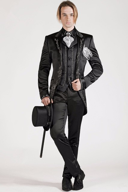 830 Customized Black Italian Embroidery Men Suits Slim Fit Groom Prom Smoking 3 Piece Blazer Male Coat Luxury Brand