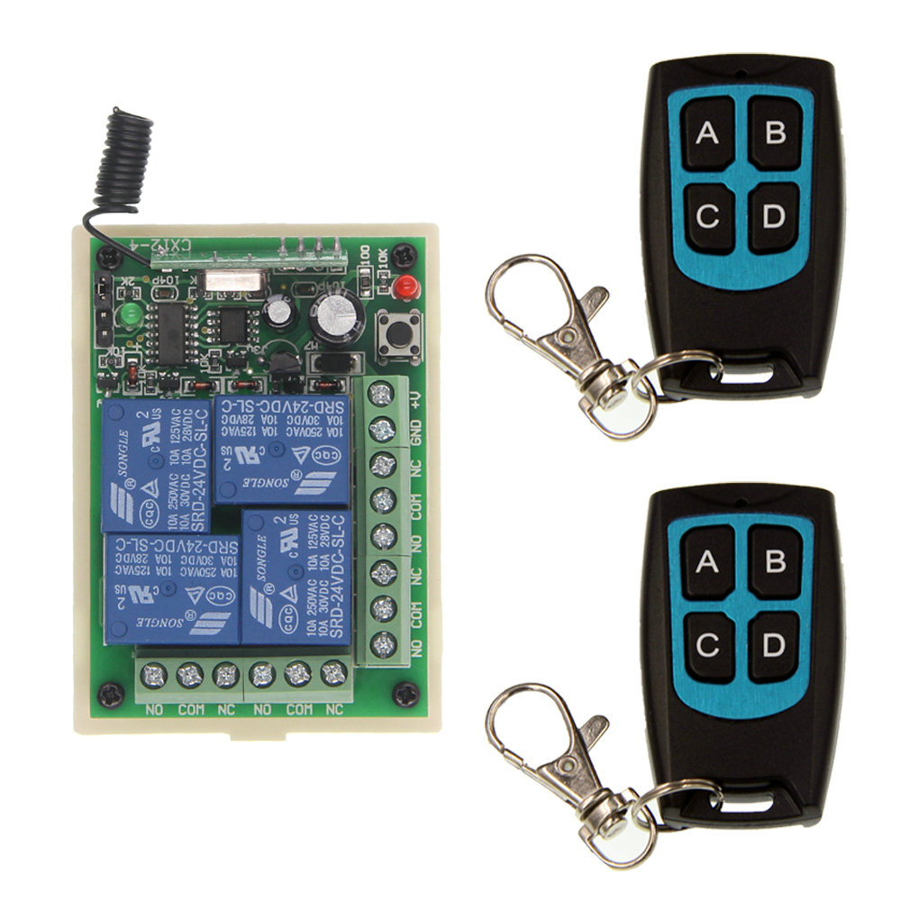 DC 12V 24V 4 CH 4CH RF Wireless Remote Control Switch System,2 X Waterproof Transmitter + Receiver,315/433.92MHz,Jog,Toggle 200m 4ch 4relay 12v wireless remote control switch system1 receiver