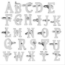 1 pair fashion 26 Letters Cuff Link Alphabet Cufflink drop Shipping creative letter shaped Cufflink(China)