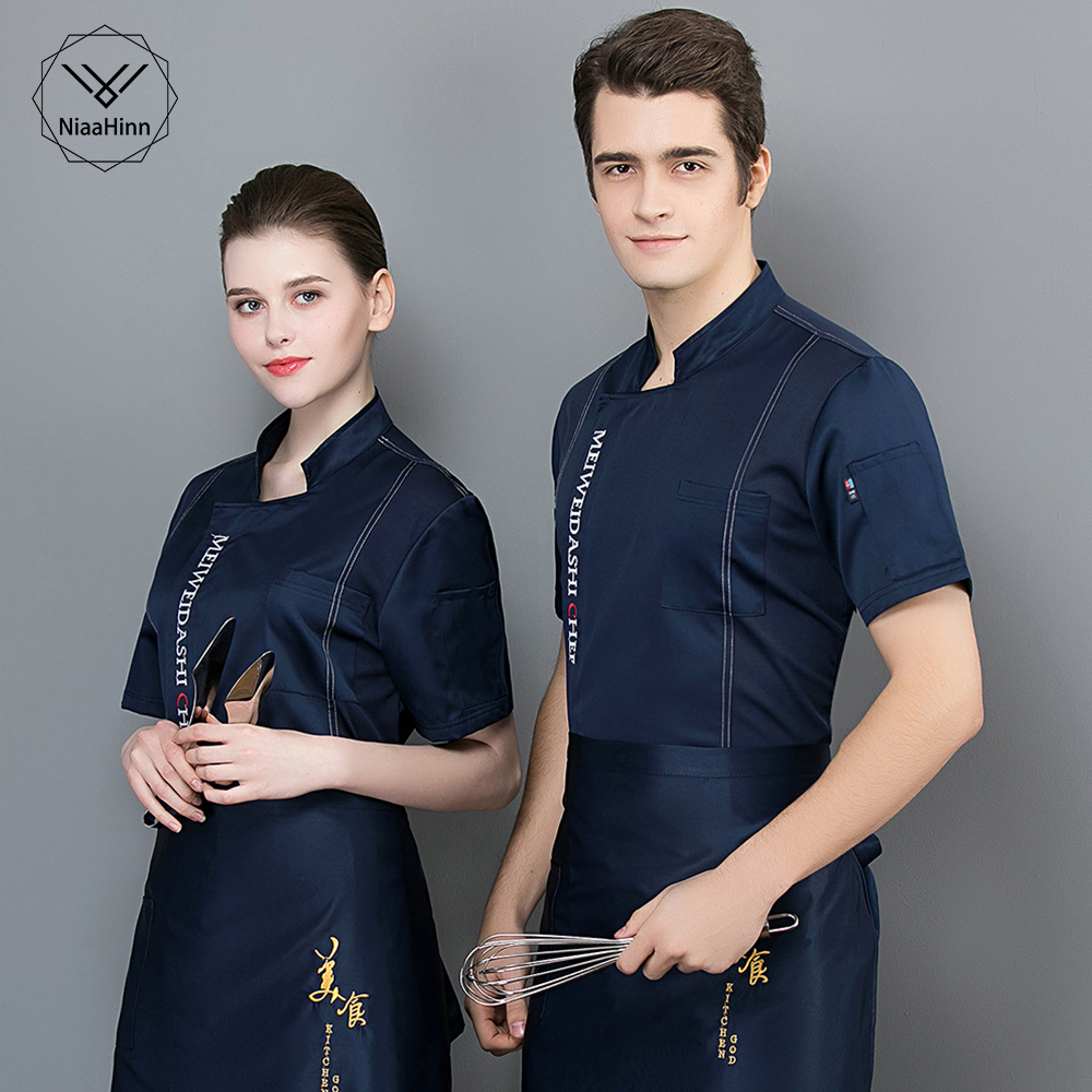 New Wholesale Chef Uniform Unisex Restaurant Kitchen Breathable Short Sleeve Shirt Chef Jacket&cap&apron Work Clothes For Men