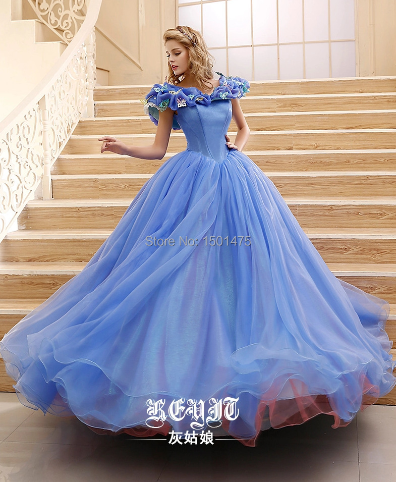 Princess Cinderella Wedding Dress Costume For: 2015 Charming Princess Ball Gown Cinderella Dress Cosplay