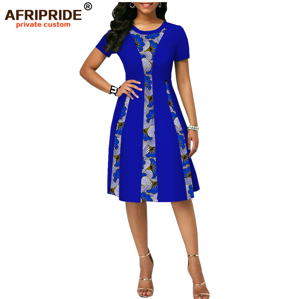 2019 zomer afrikaanse print jurk voor vrouwen AFRIPRIDE tailor made korte mouwen knielengte vrouwen casual wax katoenen jurk A1825087-in Jurken van Dames Kleding op  Groep 2
