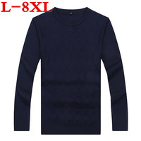 2018 New Sweaters plus size 8xl 7xl Winter Men Jumper 100% Pure Cashmere Knitted Sweater O neck Long Sleeve Warm Pullovers Male