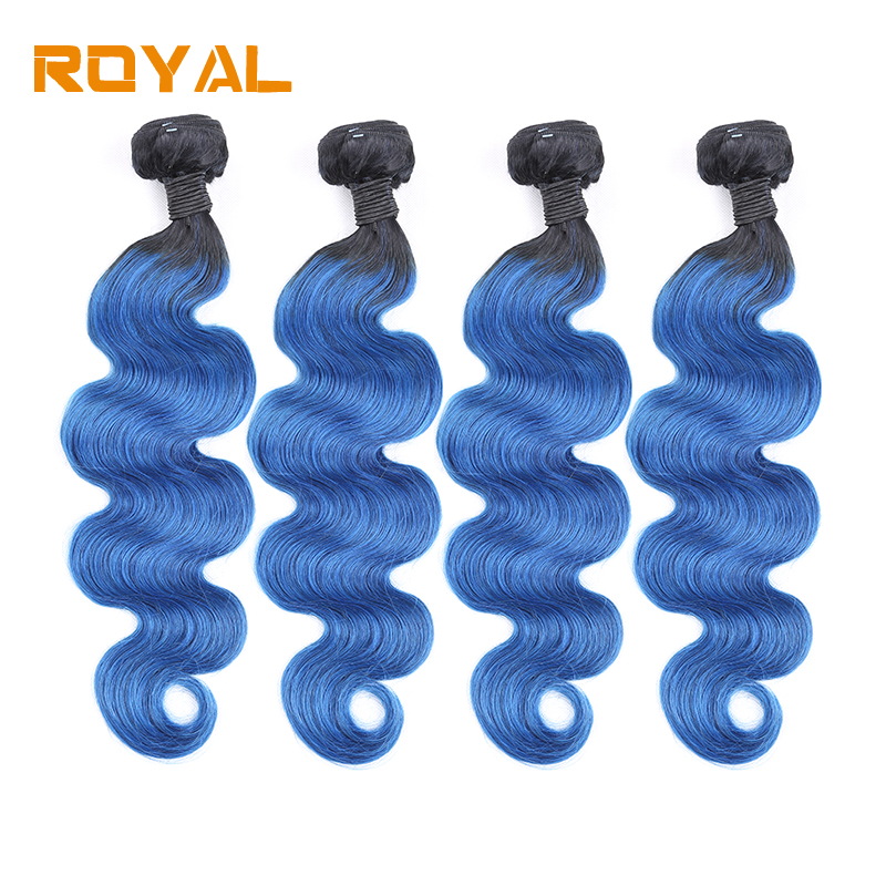 Pre-Colored Brazilian 4Bundles Body Wave T1B/Blue Color Human Hair Wave Bundles Non Remy Royal Human Hair Bundles ...