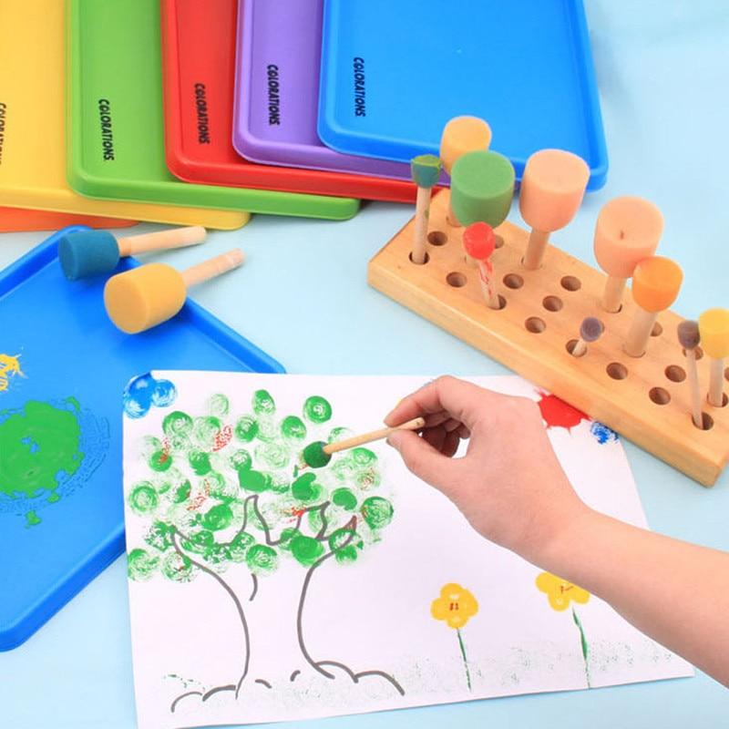 4pcs/set Paint Brush Wooden Handle Seal Sponge Brush Children's Painting Learning Tool Graffiti Kids DIY Doodle Drawing Toys