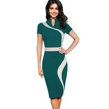 Hanım Vintage Kontrast Colorblock Zayıflama Ofis İş Emek verme Giyinin Casual Parti Kalem Kılıf Bodycon Elbise