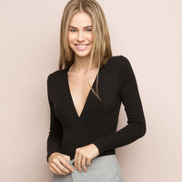 Women Plunging V Neck Front Tops Ribbed Deep V Neck T Shirts Fashion Slim Tees
