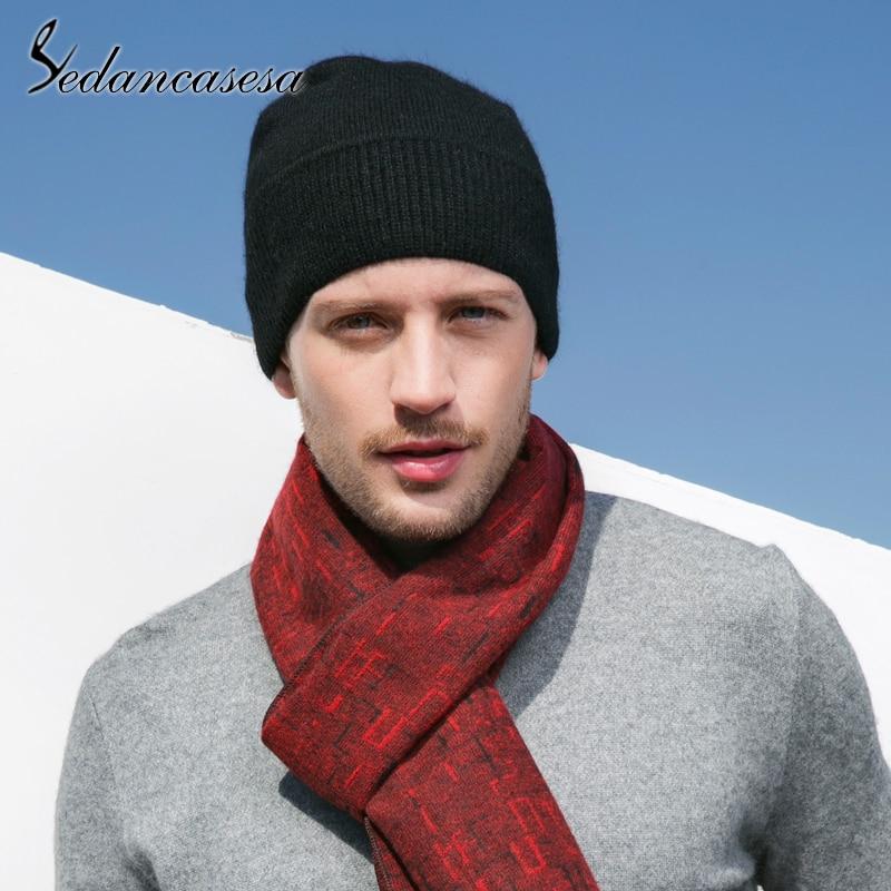 Sedancasesa Classic Black Knitted Male Cap Head Warmer Winter Man Hats Wool Soft   Skullies     Beanies   for Men 2019 New Fashion
