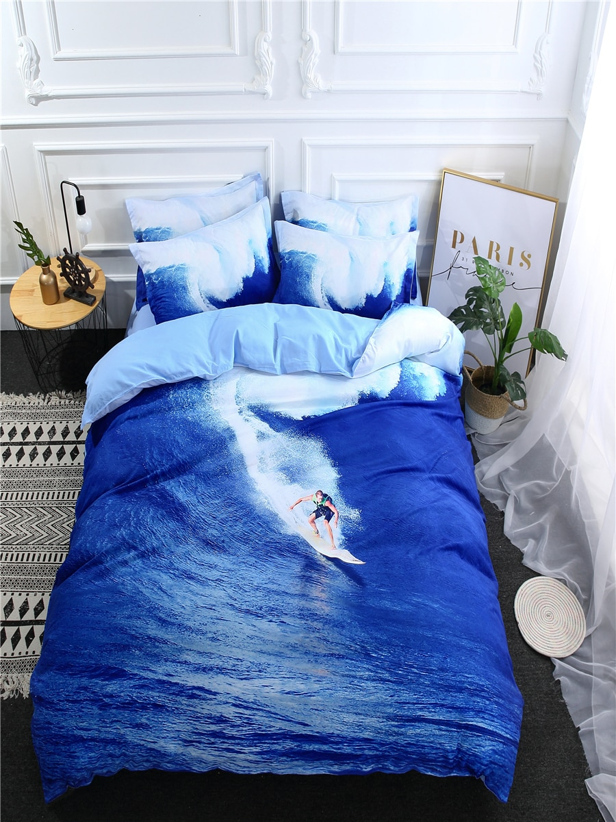 3/4 Pcs Bedroom Duvet Cover Set Creative 3D Surfing Pattern Soft Cozy Bed Linens 3/4 Pcs Bedroom Duvet Cover Set Creative 3D Surfing Pattern Soft Cozy Bed Linens