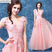 2017 New Arrival Stock Maternity Plus Size Bridal Gown Evening Dress A Line Pink Lace Long